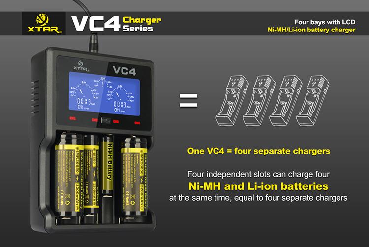 XTAR VC4 USB Charger LCD Display Li-ion Ni-MH w//USB Car and Wall Adaptors