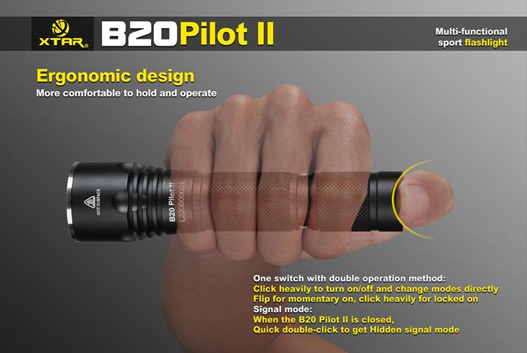 New XTAR B20 Pilot II Cree XM-L2 U3 1100 Lumens LED Flashlight Torch 18650