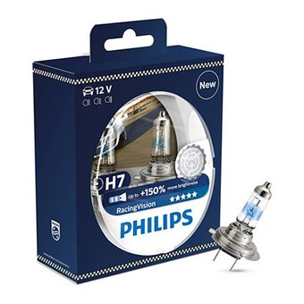 2x Philips H7 Racing Vision + 150%