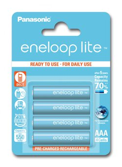 4 x Rechargeable Panasonic Eneloop Lite R03 AAA 550mAh BK-4LCCE/4BE (blister)