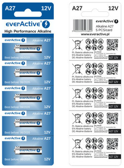5 x everActive 27A 12V Alkaline Batteries